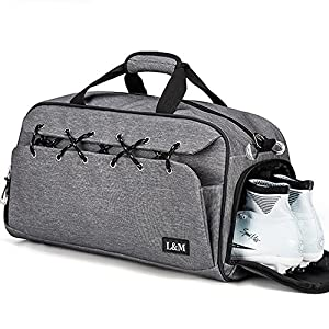 Sports Gym Bag with Shoes Compartment Water Resistant Travel Duffel Overnight Bag for Men and Women with Wet Pocket (Grey)