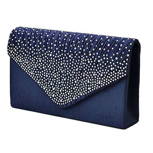 Crossbody Rhinestone Wedding Envelope Clutch LianLe Satin Party Bag blue dark Women For Evening Evening Girl studded Bag 1PTqOz