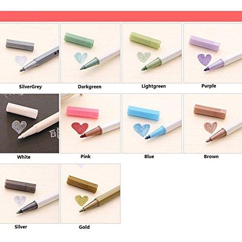C-Pioneer 10PCS Candy-colored Metallic Marker Felt Tip Pen Card Making Craft Scrapbook (Silver Pens Pioneer)
