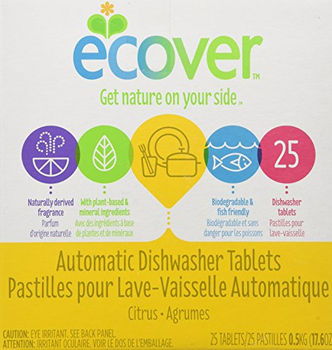 Tablets Dishwashing Ecover Automatic (Ecover Natural Automatic Dishwashing Tablets, Citrus - 17.6 Ounce, (Pack of 4))