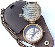 Thoreau's Go Confidently Quote Engraved Compass with Stamped Leather case Camping Compass Boating Compass