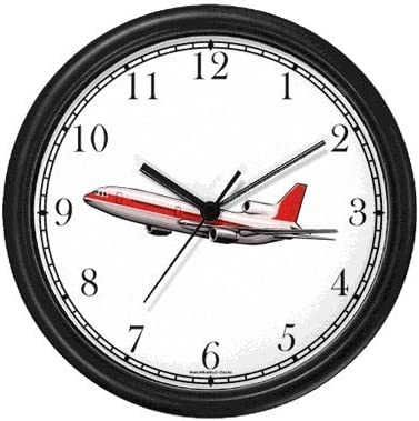 Jet Plane Wall Clock by WatchBuddy Timepieces Black Frame