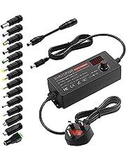 SHNITPWR 3V - 24V Power Supply 36W Universal Power Adapter 5V 6V 9V 12V 15V 18V 19V 20V Adjustable Power Transformer 100V-240V AC to DC Converter 1.5A 1500mA max with 14 Tips and Polarity Converter
