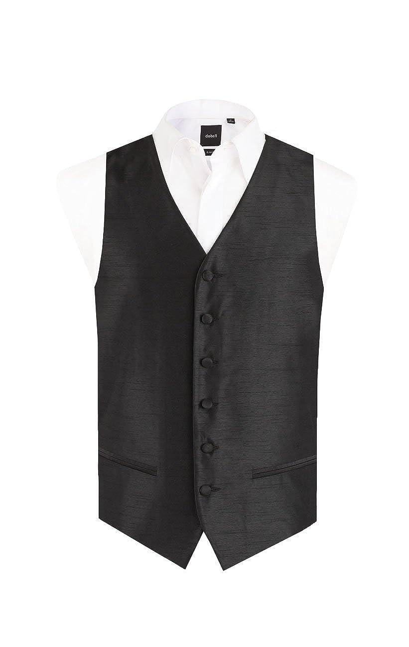 Dobell Mens Black Waistcoat Regular Fit Dupion Satin-Feel 5 Button