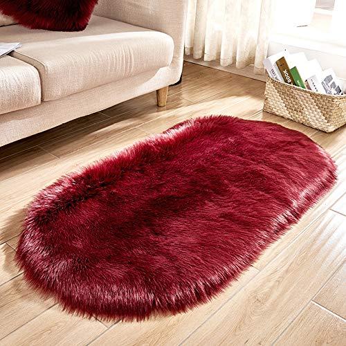 Faux Fur Throw Rug Oval Shape Fake Sheepskin Anti-Skid Shaggy Area Rug Elegant Chic Cozy Floor Mat for Home Living Bedroom Sofa Floor Carpet 40 x 80 cm (C) -