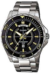 Casio #MTD1076D-1A9V Men's Standard Sport Stainless Steel 100M Day Date Watch