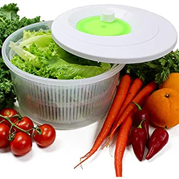K Basix Large Salad Spinner 4.5 L - Vegetable or Lettuce Dryer, Keeper, Crisper and Shaker, Compact Rotary Handle is Easy to Spin and allows Easy Storage