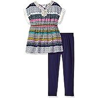 Youngland Girls' Aztec Print Challis Fringe Tunic with Knit Legging