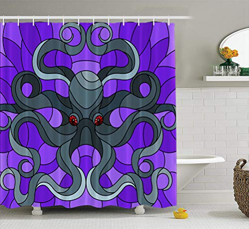 Summor Fabric Shower Curtainstained Glass with Abstract Dark Octopus Blue Sea and Bubbles Batik Black 72X78 Inches Waterproof Bathroom Shower Curtains Set of Hooks ()