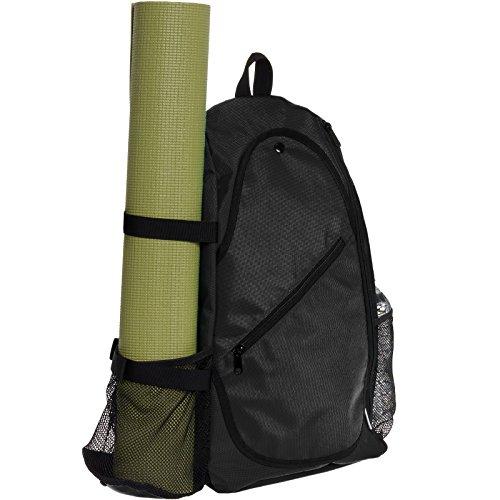 Yoga Backpack by LISH - Adjustable Crossbody Yoga Mat Bag for Travel, Hiking, Biking (Black)