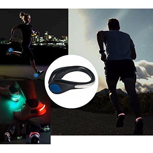 TEQIN Black Shell Blue LED Flash Shoe Safety Clip Lights for Runners & Night Running Gear - Reflective Running Gear for Running, Jogging, Walking, Spinning or Biking + Velvet Bag - (Set of 2) by TEQIN (Image #5)