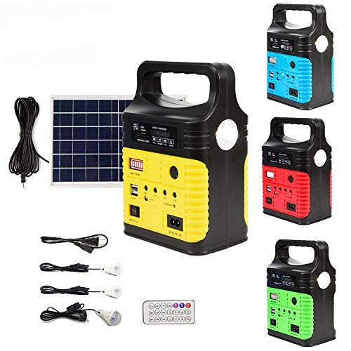 UPEOR Solar Generator Lighting System Portable Solar Power Generator Kit for Emergency Power Supply,Home & Outdoor Camping,Including MP3&FM Radio,Solar Panel,3 Sets LED Lights (Yellow)