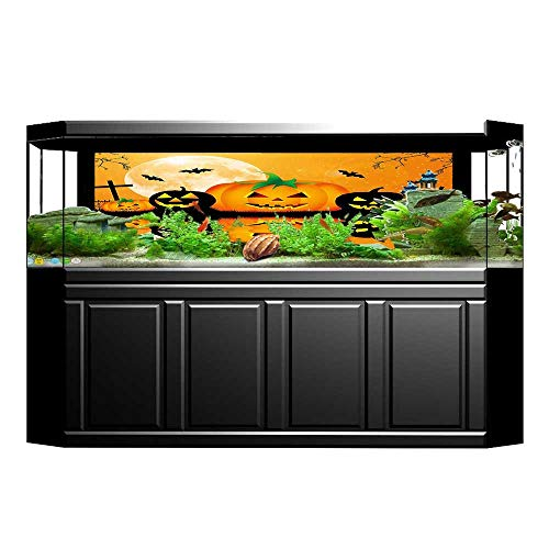 Jiahong Pan Aquarium Sticker Spooky Carved Halloween Pumpkin Full with Bats and Grave Fish Tank Backdrop Static Cling L35.4 x H19.6 -