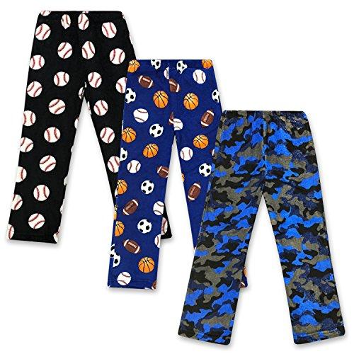 Boys Pajama Fleece Pants (Real Essentials Plush Pajama Bottoms for Boys - Pack of 3 -Set 4- Size 8/10)
