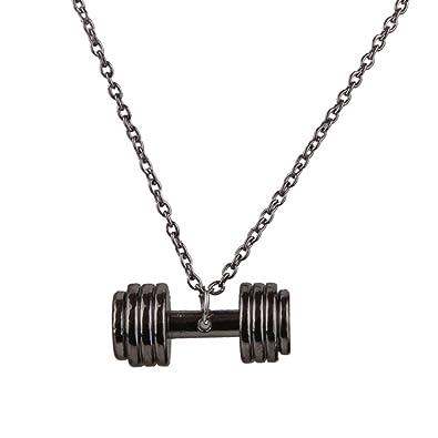 Collar Colgante Cadena Ajustable Forma Barra con Pesas Aleación Color Arma Negro: Amazon.es: Joyería