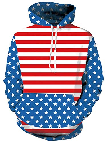 TUONROAD Realistic 3D Hooded Shirt Tops Patriotic USA Flag Blue Stars and Red White Stripes Youth & Adult Hip Hop Hoodies Sweatshirt Autumn Men's Long Sleeve Pullovers with Big Pocket ()