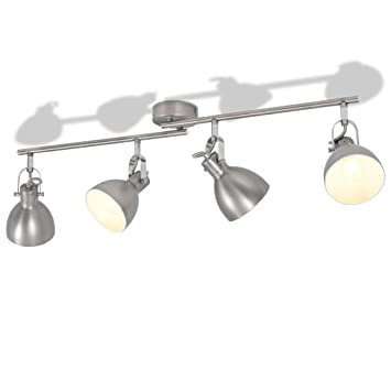 ROMELAREU Lámpara de Techo para 4 Bombillas E14 grisCasa y ...