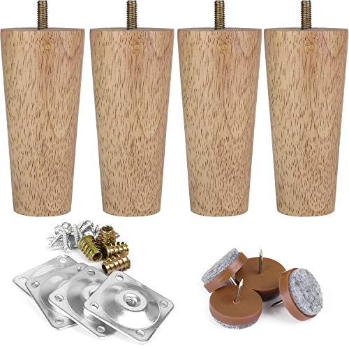 """Full Set Furniture Legs 5"""" M8 IKEA Replacement Legs with Leg Mounting Plates & Felt Protectors,Tapered Wood Legs for Furniture Sofa Couch Ottoman Coffee Table Bench Chair"""