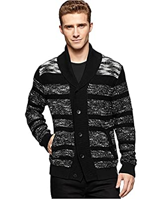 Calvin Klein Jeans Men's Texture-Stripe Cardigan Sweater