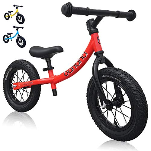 banana bike GT – Balance Bike with 12″ Alloy Wheels for Kids 2, 3, 4, 5 Year Olds (Red New)