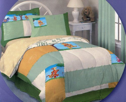 Cotton Winnie The Pooh Sheets (7pcs Winnie the Pooh Full Size Comforter and Sheet Set ~ 100% Cotton Jersey Knit Bed in a Bag)