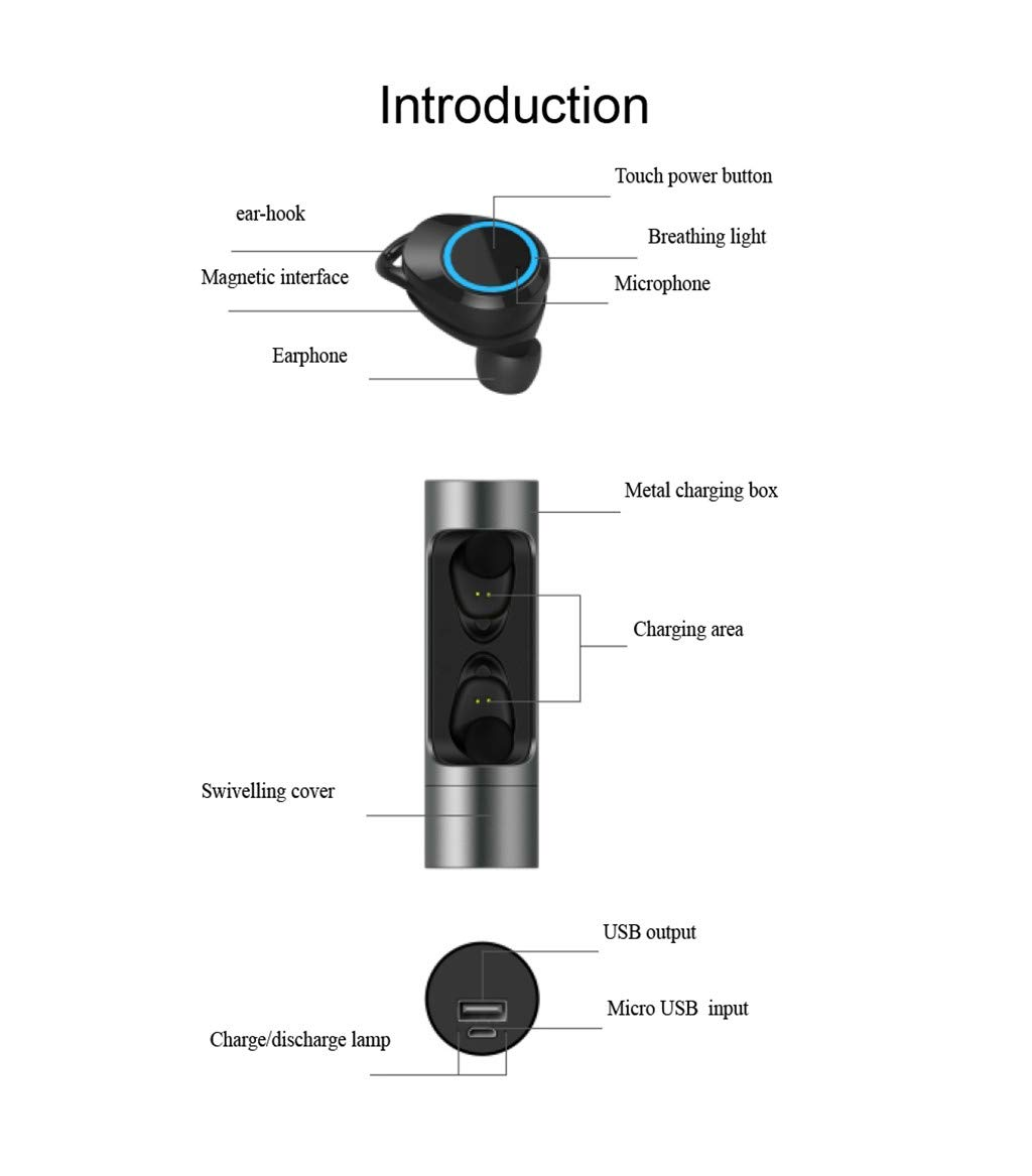 Sonmer X8 Mini Twins Bluetooth 5.0 Stereo HiFi Noise Reduction Earbuds,Build-in Mic,With 1000mAH Charging Dock (Black) by Sonmer_Earphone (Image #8)
