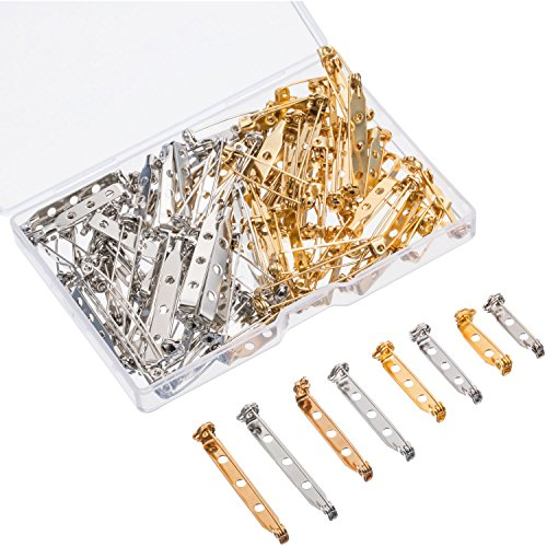 Shappy 100 Pieces Bar Pins Brooch Pin Backs Safety Clasp with Plastic Box, 4 Sizes 20 mm, 25 mm, 32 mm and 38 mm (Gold and - Clasp Jewel