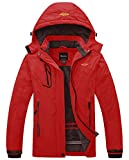 Wantdo Women's Waterproof Mountain Jacket Fleece Windproof Ski Jacket Hiking Jacket Bright Red Medium