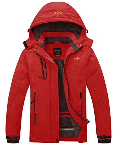 (Wantdo Women's Waterproof Mountain Jacket Fleece Windproof Ski Jacket Hiking Jacket Bright Red Large)