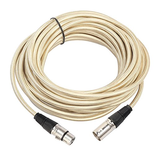 Audio Cable,Fiber Braided 3-Pin XLR Male to Female Audio Stereo Extension Cable(15 m) ()