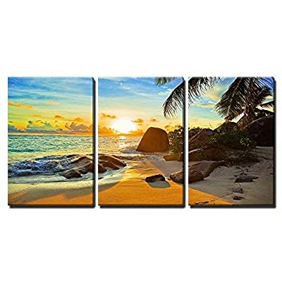 3 Piece Canvas Wall Art - Tropical Beach at Sunset - Nature Background - Modern Home Art Stretched and Framed Ready to Hang - 16