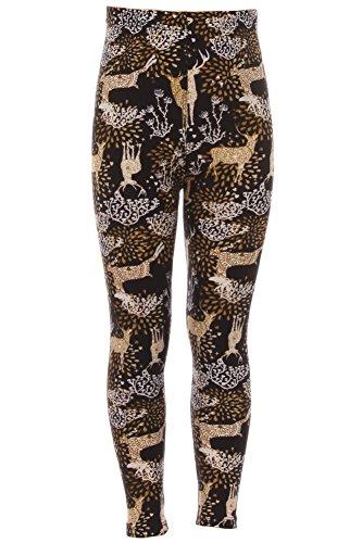 Expert Design Girl's Brown Deer Pattern Printed Leggings - L/XL by Expert Design