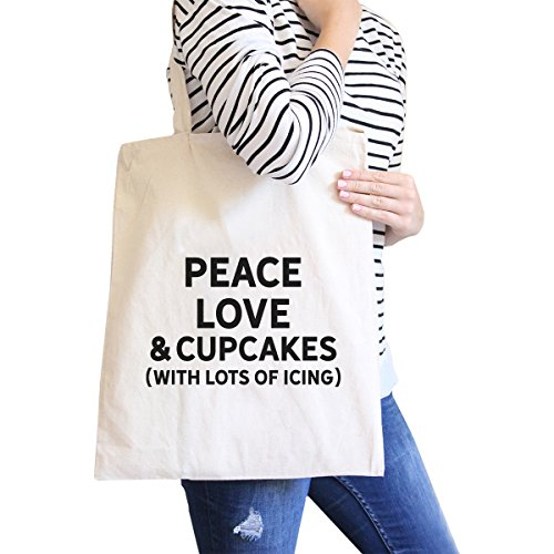 365 Printing Peace Love Cupcakes Natural Canvas Bag Birthday Gift Tote Bags