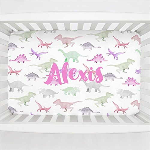 Carousel Designs Personalized Custom Pink Watercolor Dinosaurs Mini Crib Sheet Alexis Idea - Organic 100% Cotton - Made in the (Alexis Crib)