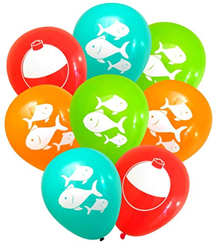 (Nerdy Words Fish and Bobber Balloons (16 pcs) Fishing Party Decorations (Red, Orange, Aqua,)