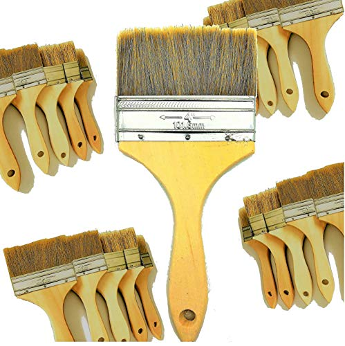 4 Inch Brush - PANCLUB 20 Pack of 4 inch Paint and Chip Paint Brushes Bulk, for Paint, Gesso, Glues, Varnishes, Stains, and Acrylics