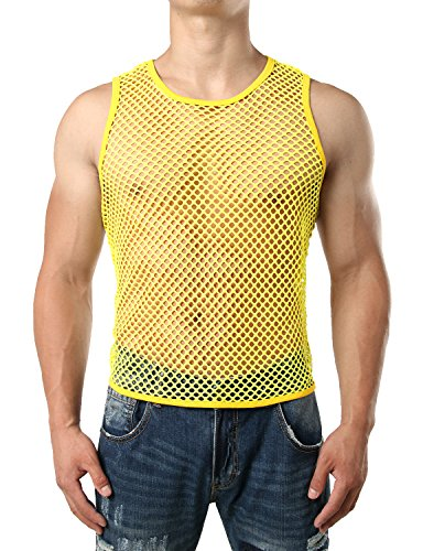 Yellow Mesh Tank Top - JOGAL Men's Mesh Fishnet Fitted Sleeveless Muscle Top Medium WG01 Yellow