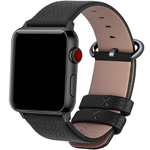 22 Colors for Apple Watch Bands 38mm and 42mm, Fullmosa Yan Calf Leather Replacement Band/Strap for Apple Watch Series 3, iWatch Series 3, Series 2, Series 1, Sport 2015 2016 2017, 42mm Black-GM-GM