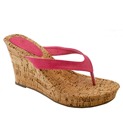 Pink Wedge Flip Flop (Alicia-21 New Women Flip Flops Platform Thong Sandals Fashion Colors Wedge Heel Shoes 6.5)