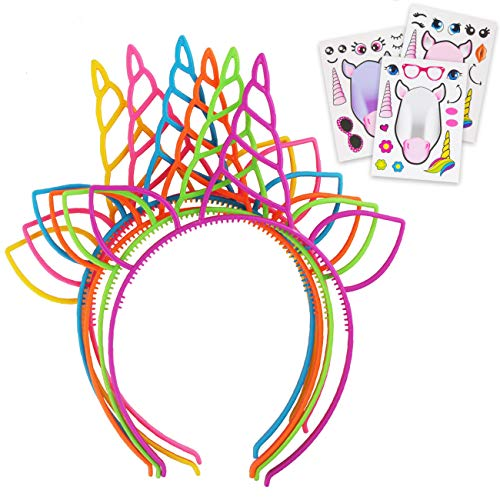 DFFPRO Adorable Unicorn Horn Headband For Girls 36 Pack With DIY Unicorns Stickers - Flexible Headbands For Kids & Adults - Colorful Horns Head Band Adult Party Hats - Children's Birthday Party Favors -