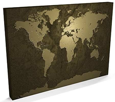 Gold world map canvas art print 22x34 inch a1 203 amazon gold world map canvas art print 22x34 inch a1 203 gumiabroncs Gallery