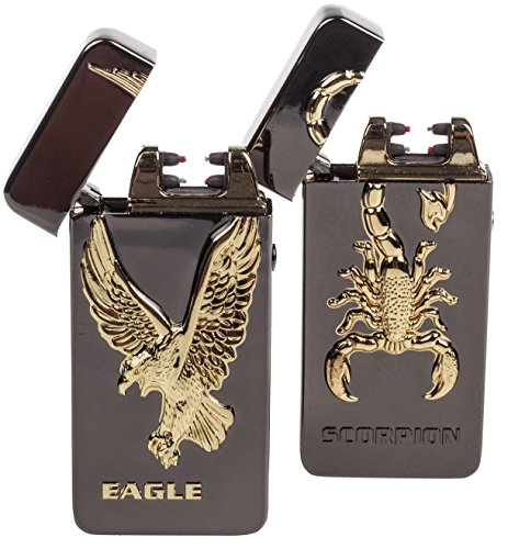 USB Lighters 2 Pack - Dual Arc Electronic Lighter Electric Plasma Lighter - Tesla Coil Rechargeable Cigarette Lighter 5 Designs (Scorpion + Eagle)