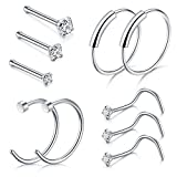 D.Bella Nose Piercing, 22G Nose Pin Studs 1.5mm 2mm 2.5mm Fake Nose Ring Ear Lip Hoop Jewelry, Silver