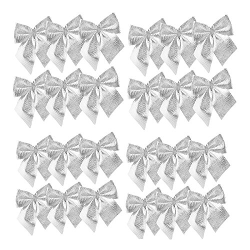 ANGELS--Cute 24pcs Bow Christmas Bowknot Xmas Tree Bow Hanging Home Ornament Party Decor (Silver) (Pagan Christmas Traditions Origins)