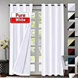 Flamingo P 100% Blackout Curtains for Living Room Double Layer Faux Silk Room Darkening Thermal Insulated Curtains Energy Saving Grommet Window Treatment Panels (Pure White, 52 by 84-inch)