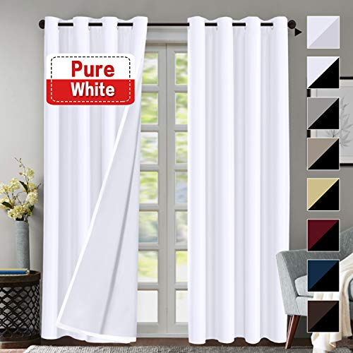 (Flamingo P Blackout Curtain Set, Pure White Thermal Insulated & Energy Efficiency Window Drapery, White Lined Silky Performance, White Color, Grommet, Set of 2, W52 x)