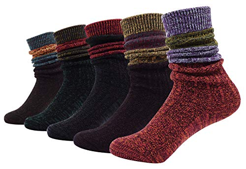 Bienvenu lady's 5 Pack KnitWinter Warm Stripe Slouch Crew Socks,Wide Stripe Slouch Pattern]()