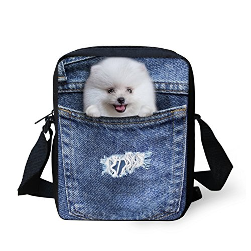 HUGS IDEA Cute Mini Messenger Bag Small Shoulder Crossbody Bags Cell Phone Purse Wallet Pomeranian Printed (Pomeranian Coin Purse)