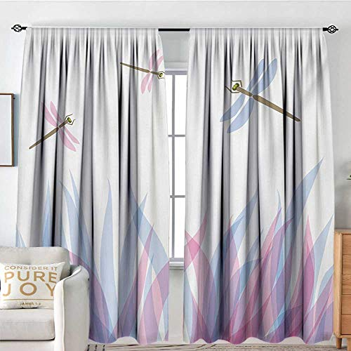 Curtains for Living Room Dragonfly,Nature Themed Colorful Birds Like Bugs Flies on Flame Abstract Image,Violet Pink and Blue,Darkening and Thermal Insulating Draperies 54