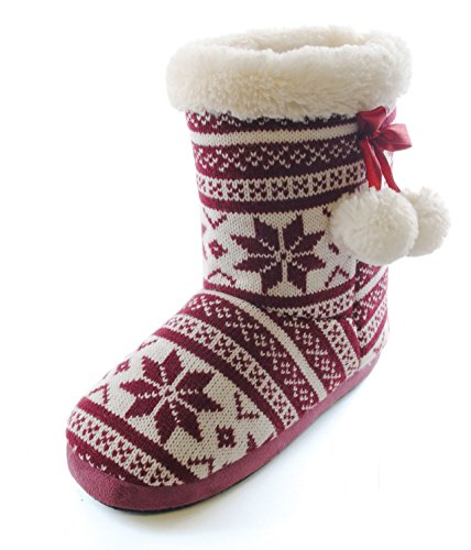 Navy Burgundy 4 7 Slumberzz Size Pom Winter Burgundy Pom Style Womens Slipper 5 3 8 Boots Girls Ladies 6 UK Snowflake Fairisle ww1S7aq